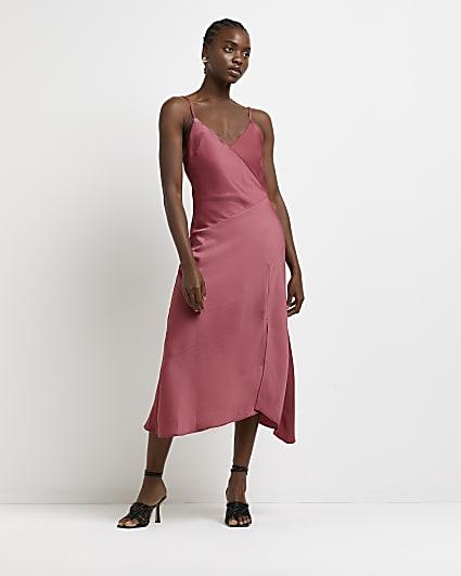 Red asymmetric midi slip dress