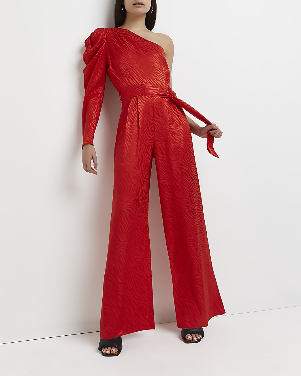 Red asymmetric wide leg jumpsuit