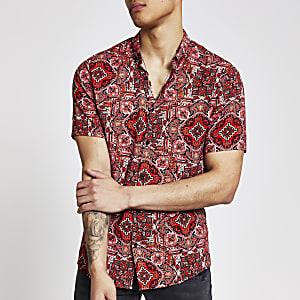 Rood slim-fit aztec overhemd met korte mouwen
