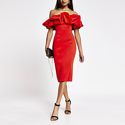 Red bardot ruffle midi bodycon dress