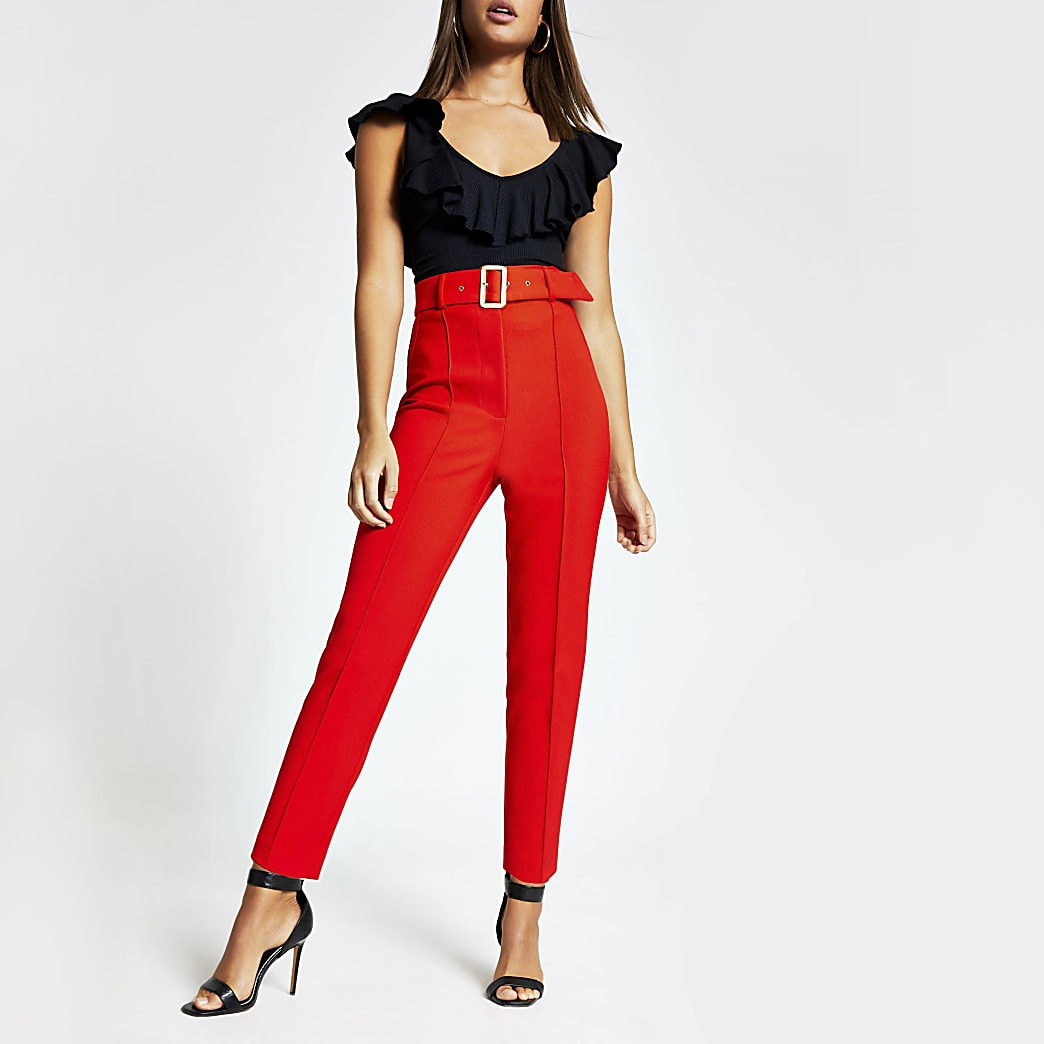 Red belted high rise peg trousers