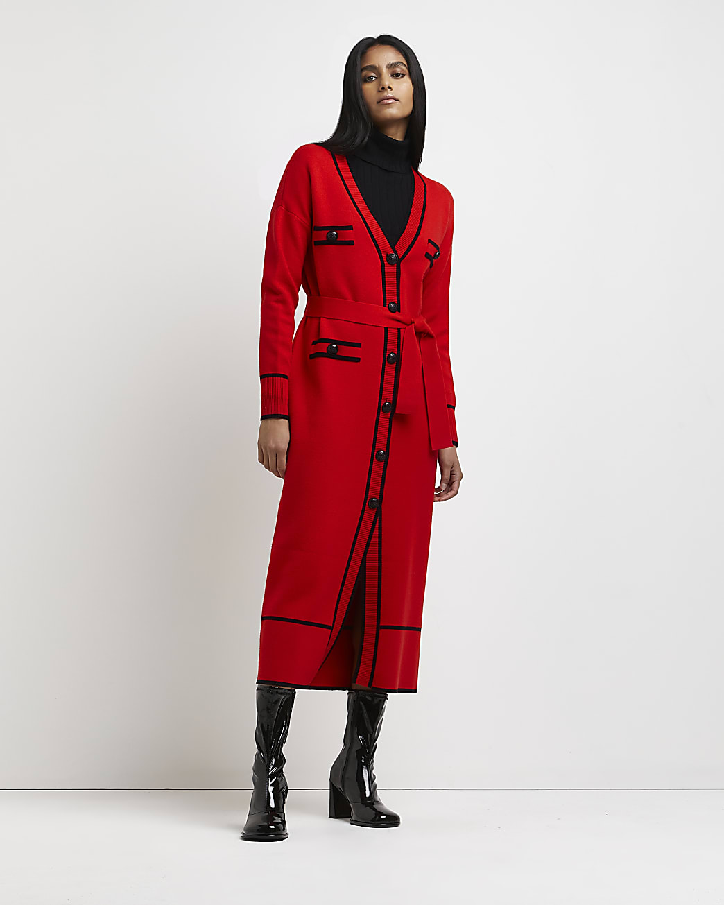 Red belted knitted shirt dress