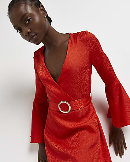 Red belted mini dress