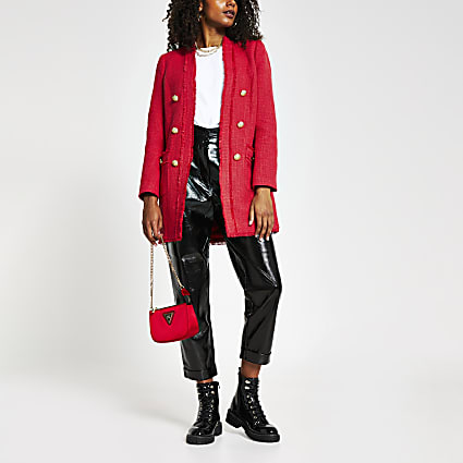 Red boucle button front jacket