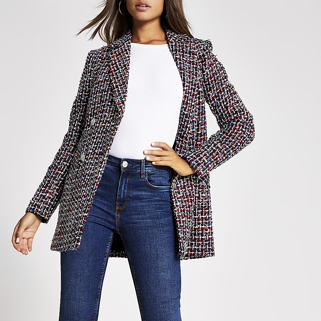 Red boucle double breasted longline blazer