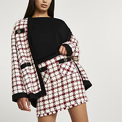 Red boucle mini skirt
