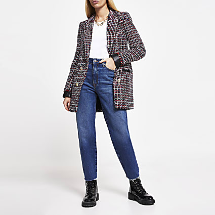 Red boucle Pu trim long sleeve blazer