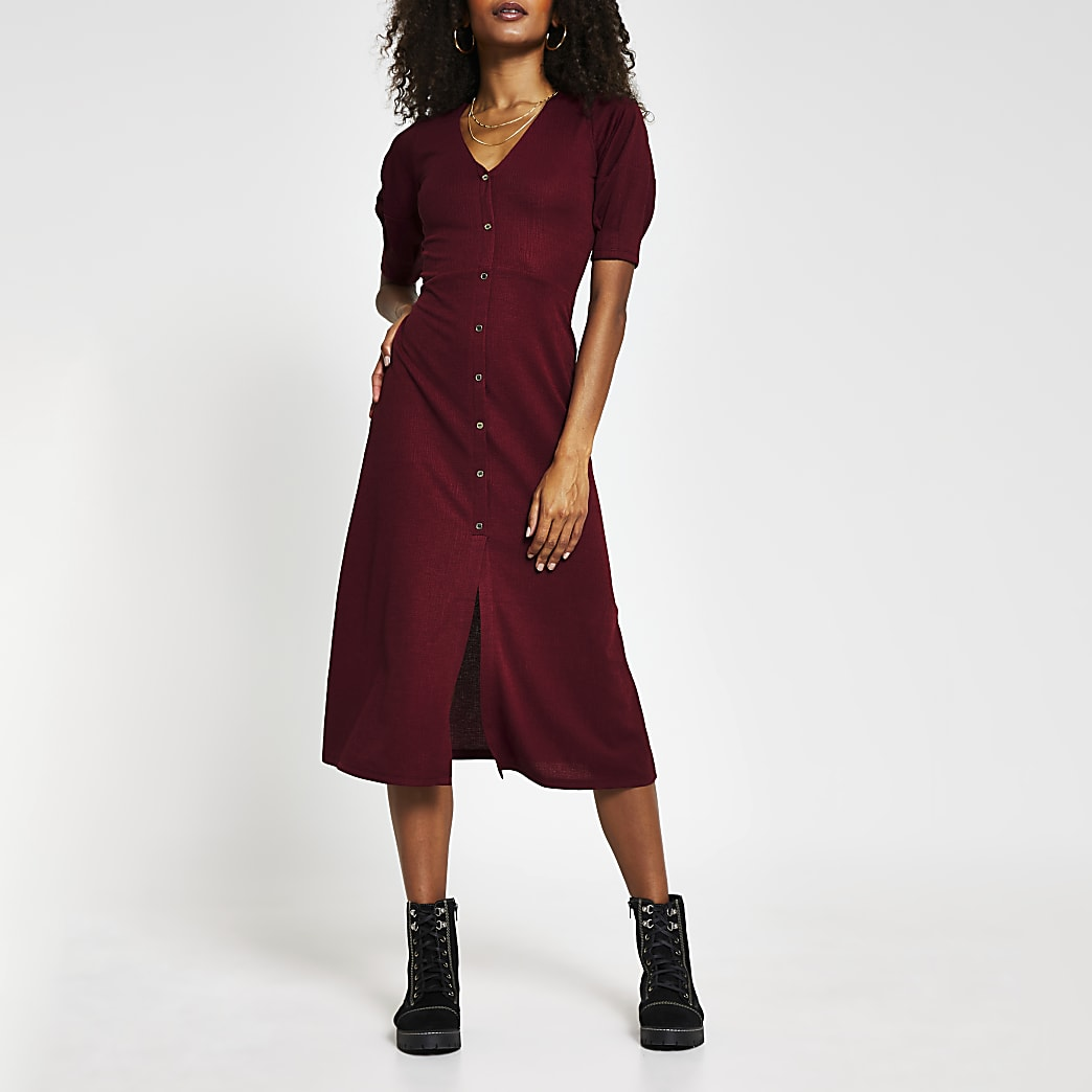 Red button down midi dress