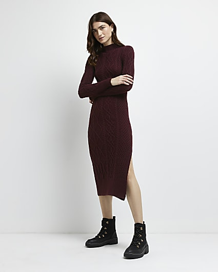 Red cable knit bodycon midi dress