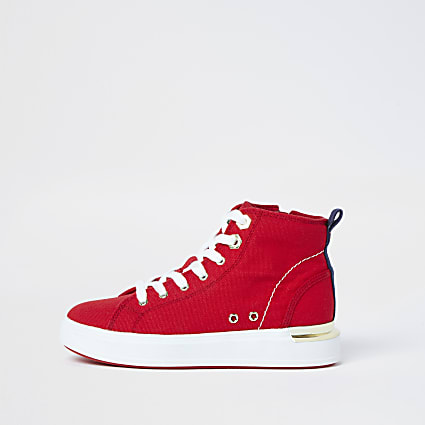 Red canvas high top trainers