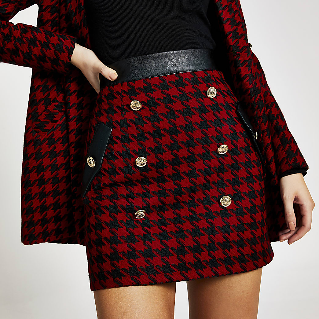 Red check boucle button mini skirt