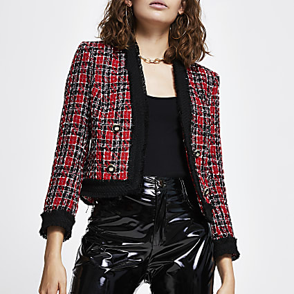 Red check boucle long sleeve jacket