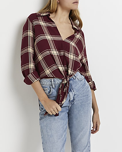 Red check knot front shirt