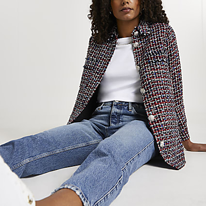 Red check print boucle shacket