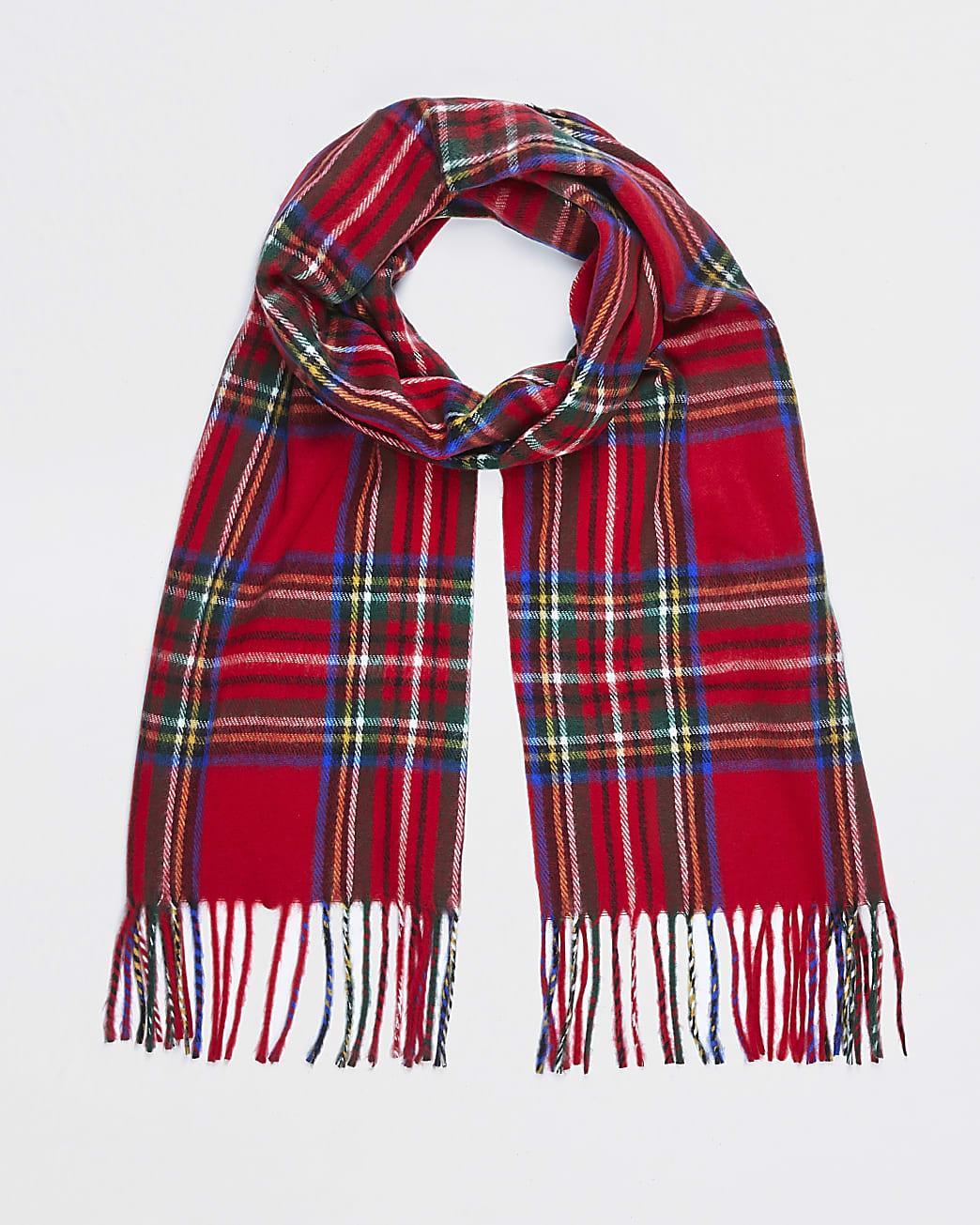 Red check tartan scarf