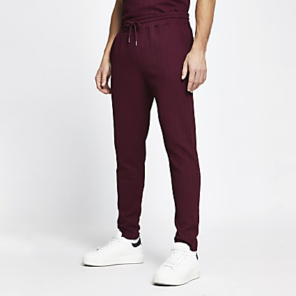 Red chevron slim fit joggers