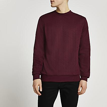 Red chevron textured sweatshirt