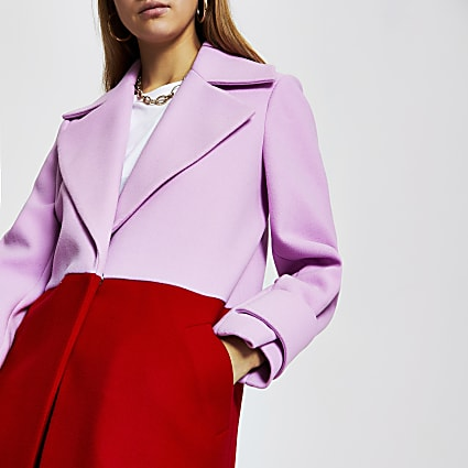 Red colour block longline coat