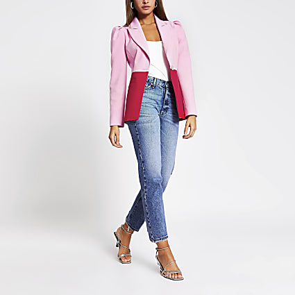 Red colour blocked puff sleeve blazer