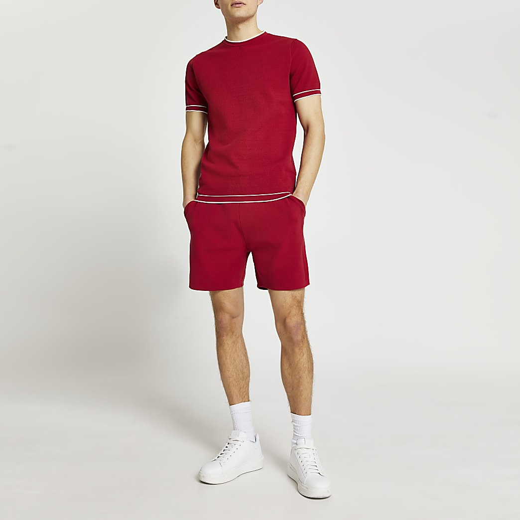 Red contrast stitch slim fit knitted t-shirt