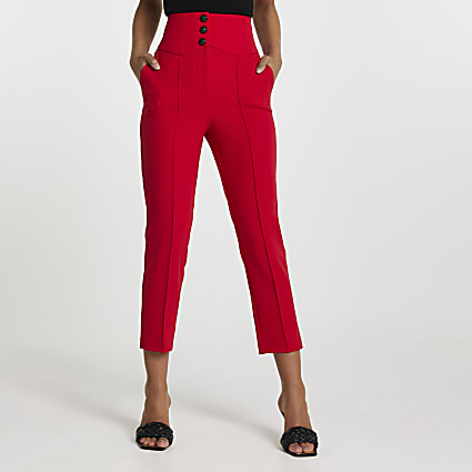 Red corset waist cigarette trousers