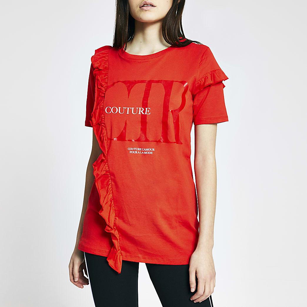 """T-shirt à volants sur le devant """"Couture"""" rouge"""