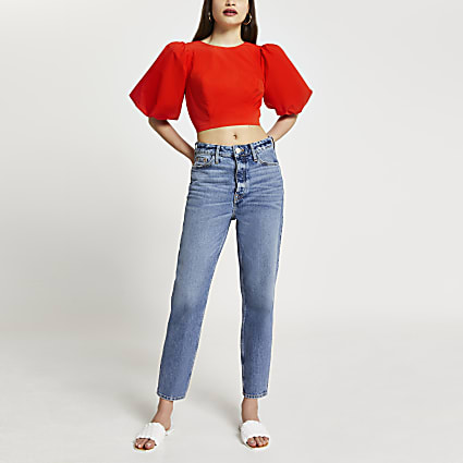 Red cross back crop top