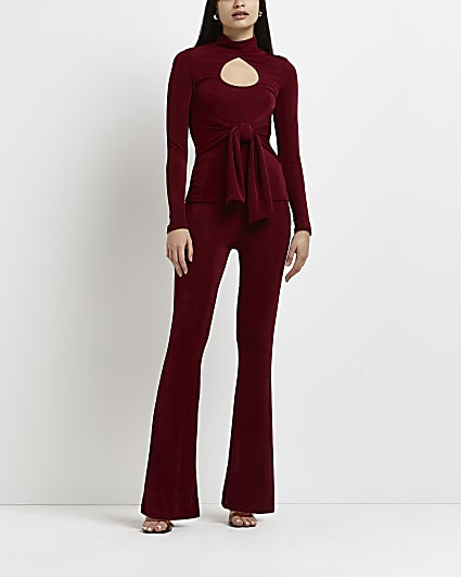 Red cut out belted top