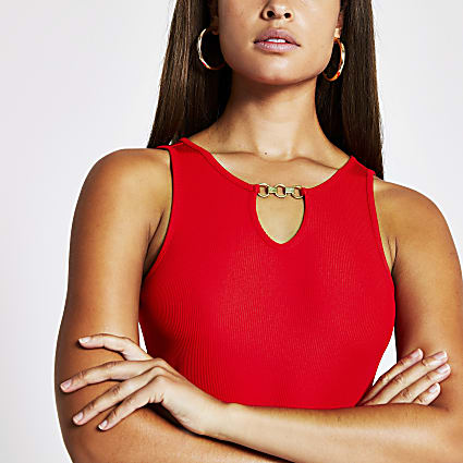 Red cutout keyhole bodysuit