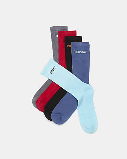 Red days of the week ribbed tube socks 5 pack