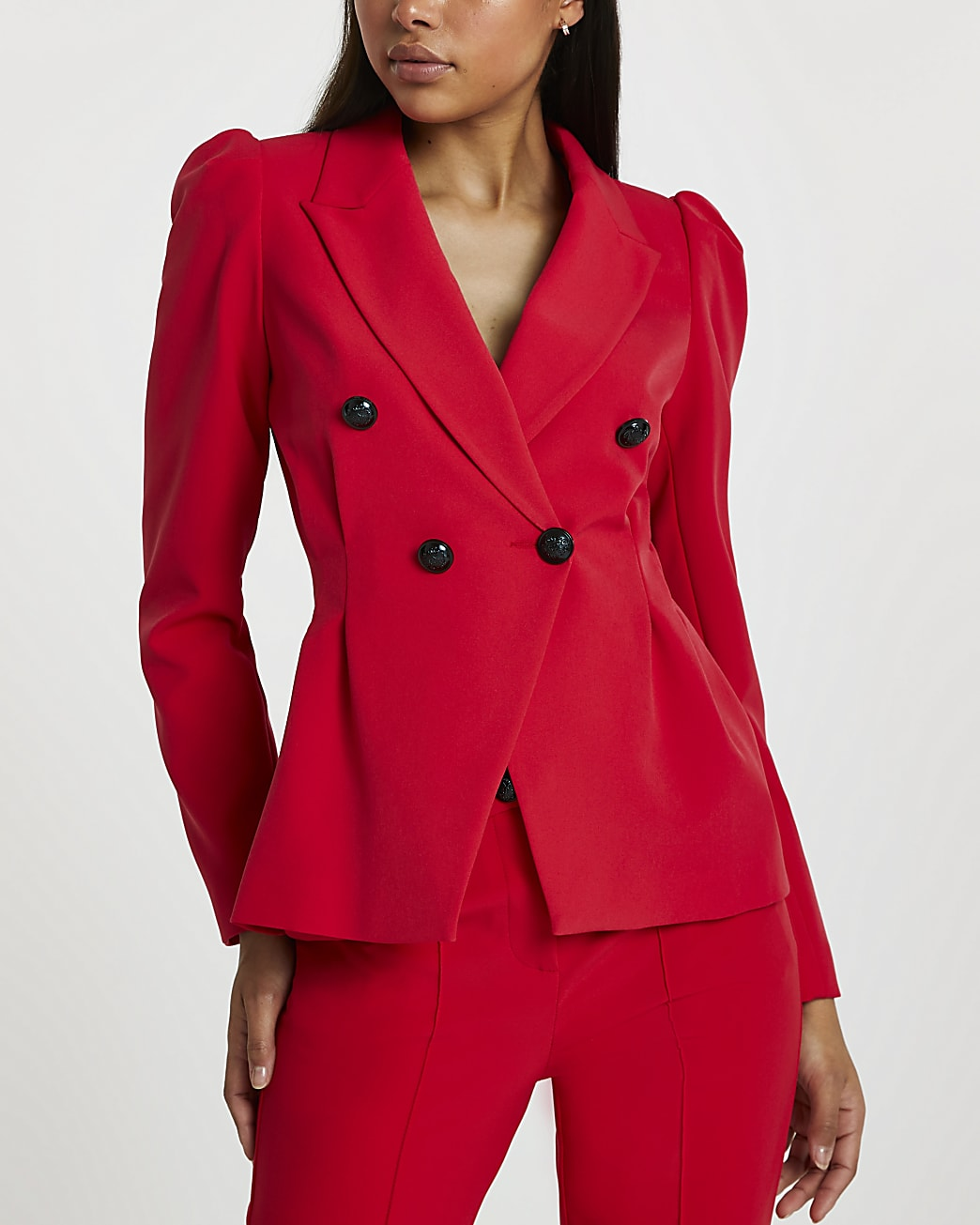 Red double breasted cinch waist blazer