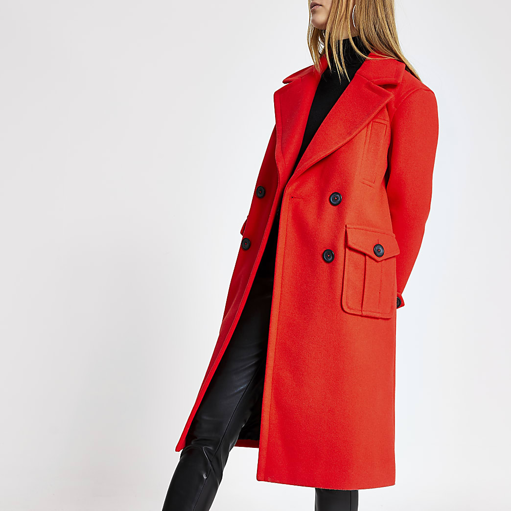 Red double breasted longline coat