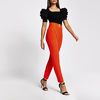 Red double button cigarette trousers