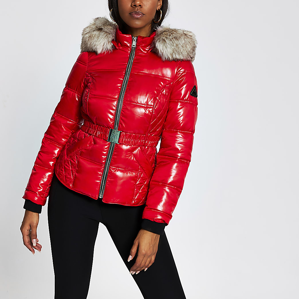 Red double zip belted padded coat
