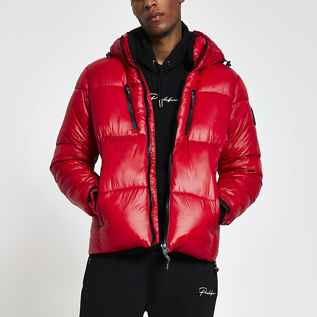 Red double zip pocket puffer jacket