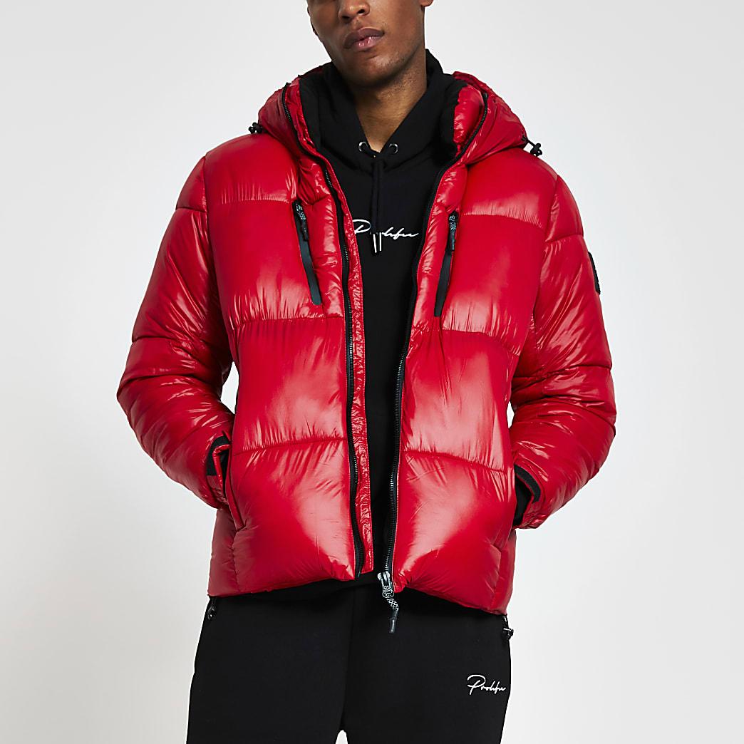 Red double zip pocket puffer jacket