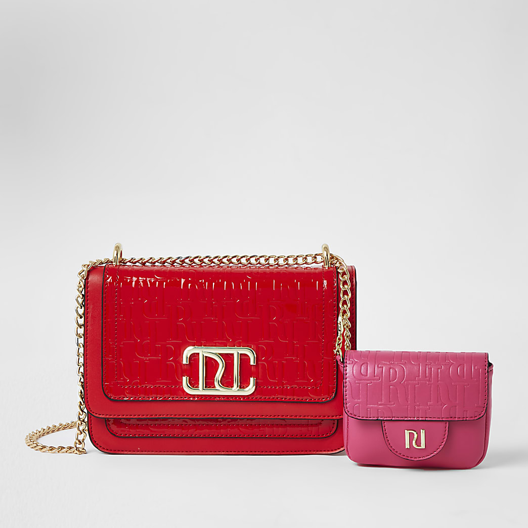 Red embossed satchel with detachable pouch