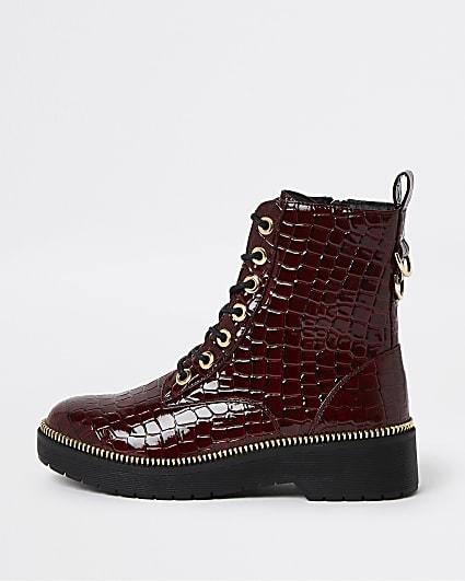 Red faux croc biker boots