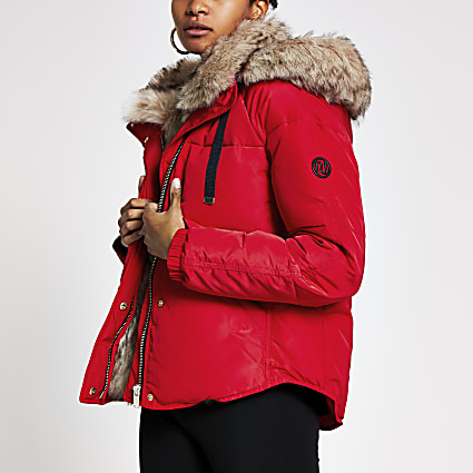 Red faux fur hooded padded jacket