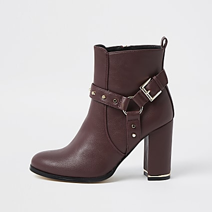 Red faux leather buckle boots