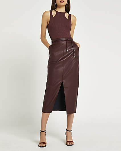 Red faux leather midi skirt