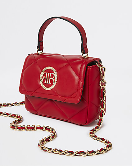 Red faux leather quilted cross body bag