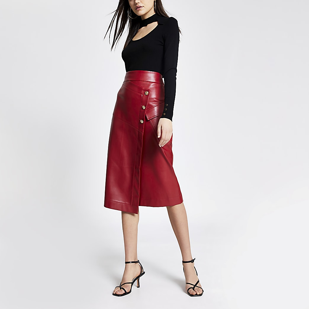Red faux leather wrap midi skirt