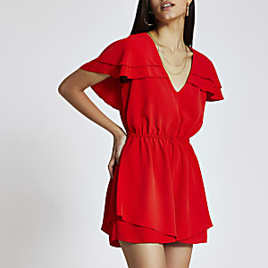Red fill sleeve tie belted playsuit