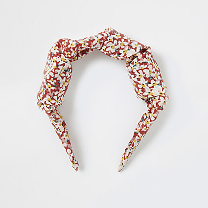 Red floral knot headband