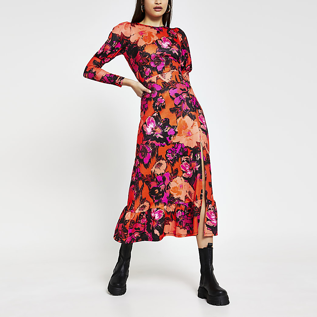 Red floral Long Sleeve side split midi dress