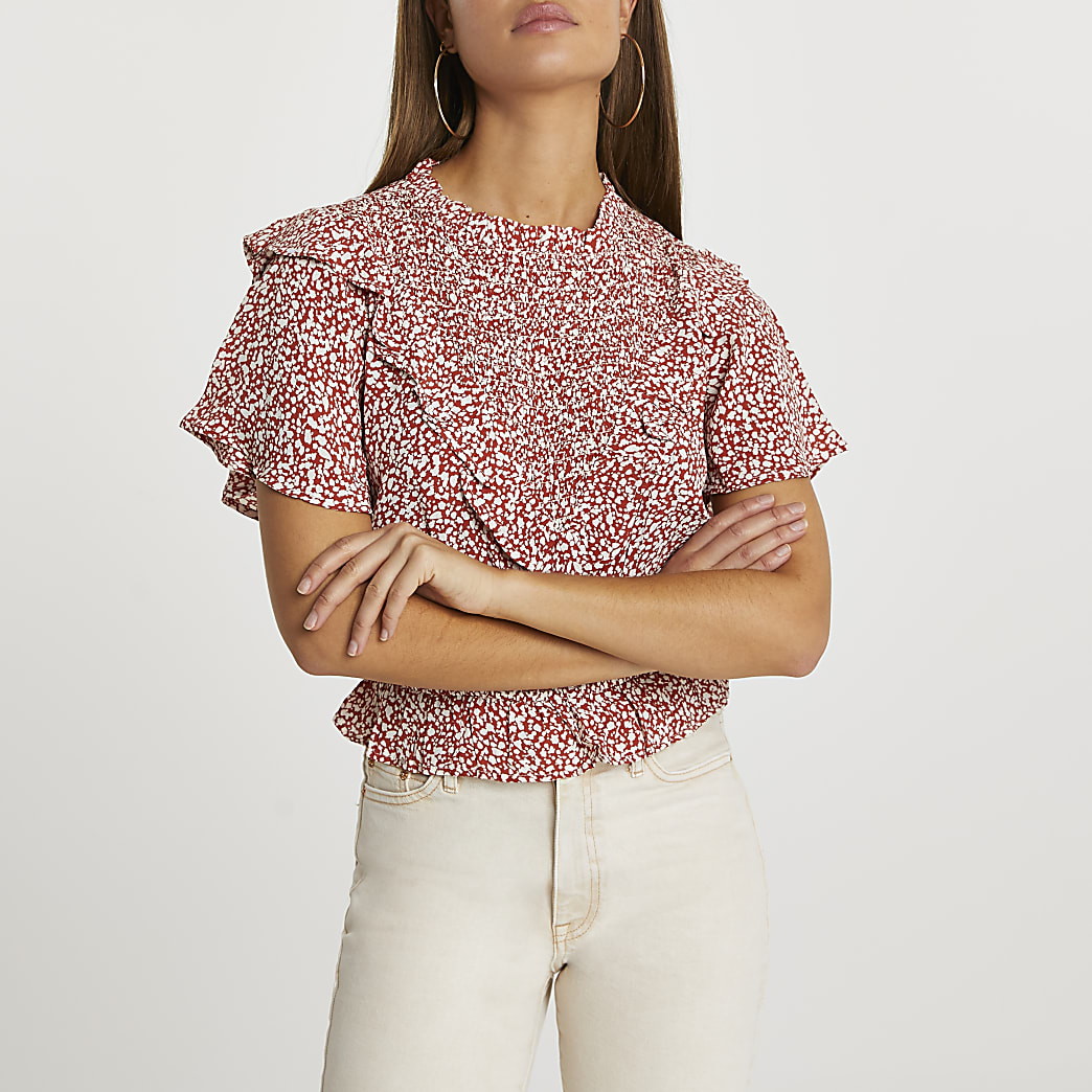 Red floral print ruffle blouse top