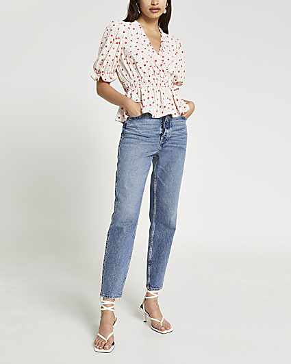 Red floral print shirred waist blouse top