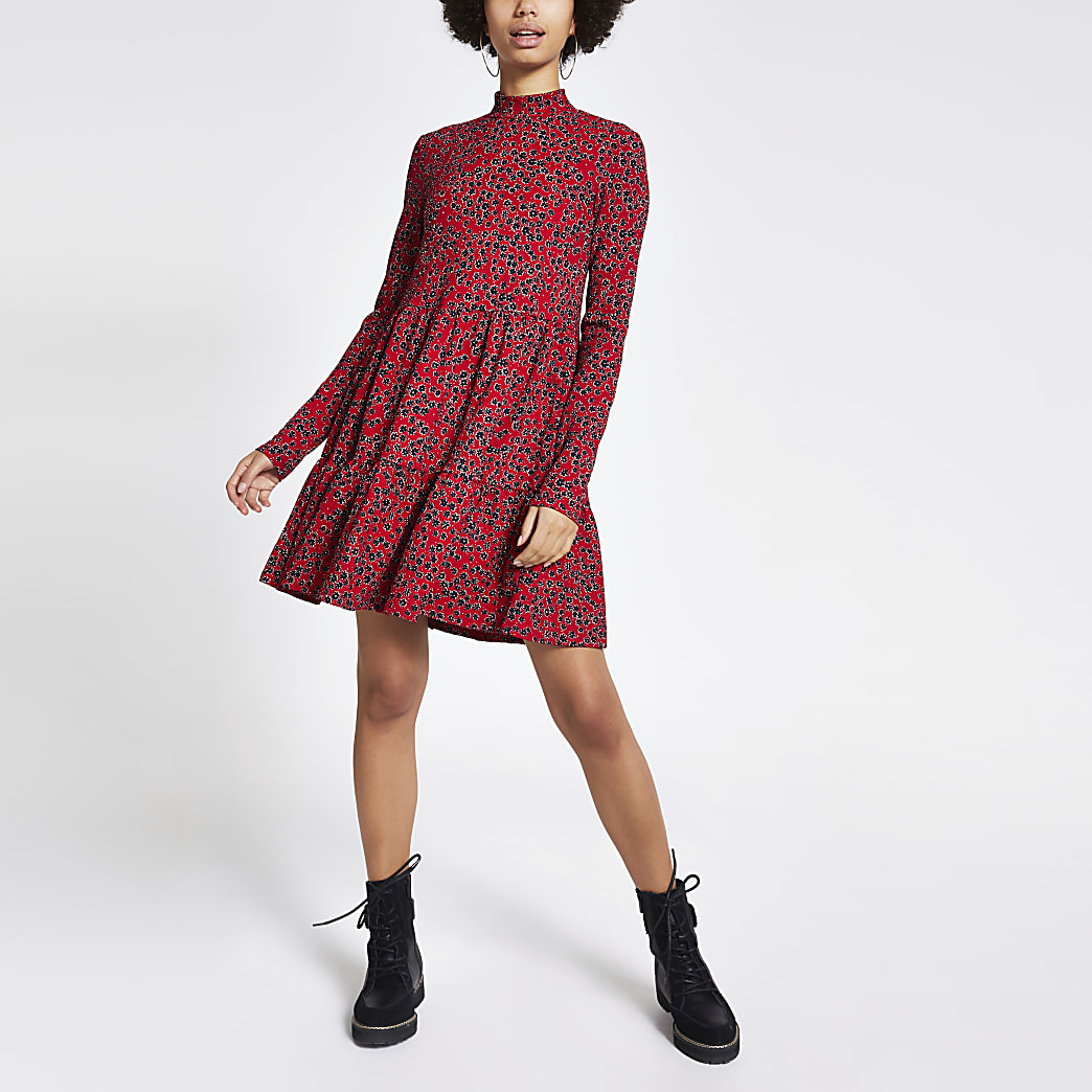 Red floral printed jersey mini smock dress