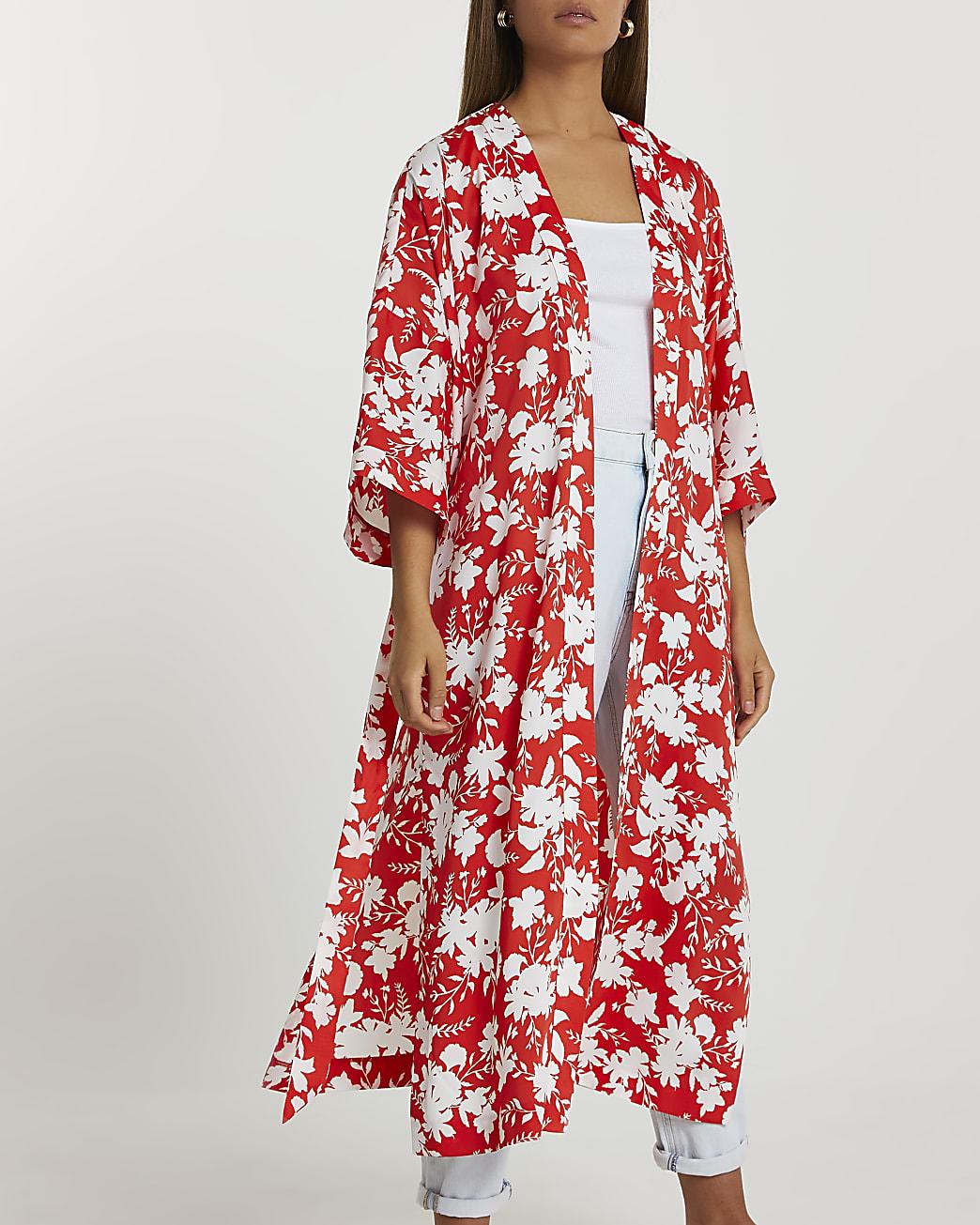 Red floral printed kimono